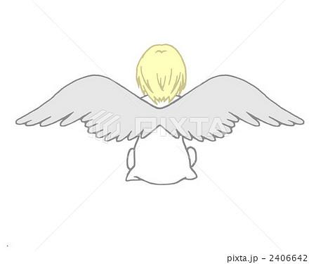 後ろ姿の天使 翼 イラストの写真素材 Pixta