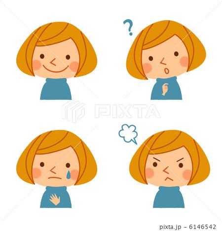 喜怒哀楽 表情 女の子 白背景の写真素材 Pixta