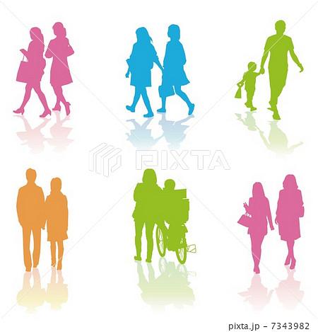 シルエット 親子 家族 通行人のイラスト素材 Pixta