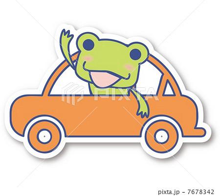 車 カエル かわいい イラストのイラスト素材 Pixta