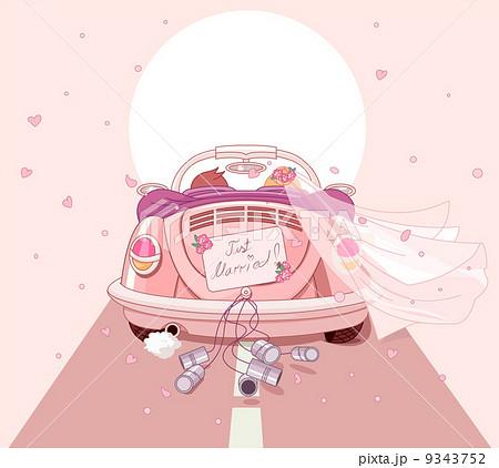 新婦退場 二人 恋 かわいい 幸せ 車 レトロのイラスト素材 Pixta
