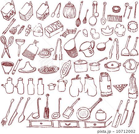 キッチン雑貨 カフェ 手描きイラスト