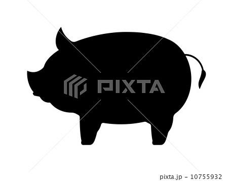 ブタのシルエットのイラスト素材 10755932 Pixta