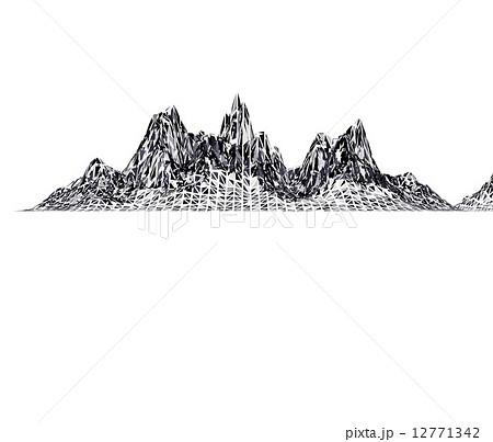 白黒のポリゴンで出来た山脈のイメージのイラスト素材 12771342 Pixta