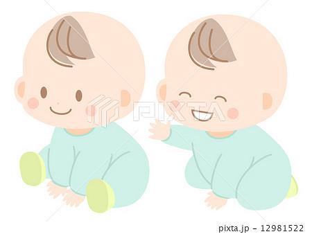 赤ちゃん 乳幼児 座り 可愛いのイラスト素材 Pixta