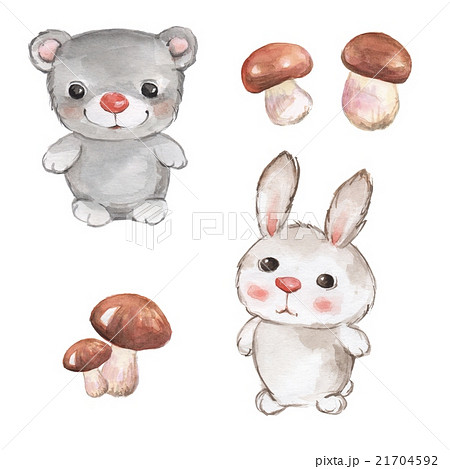 Small animals. Teddy and bunny. Watercolor set