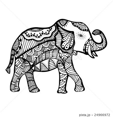 動物 象 ゾウ 白黒 モノクロ ぞうのイラスト素材 , PIXTA