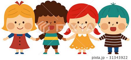 子供 男の子 女の子 4人のイラスト素材 Pixta