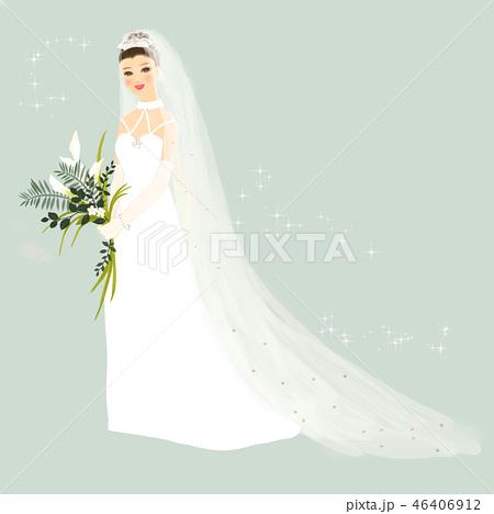 ウエディングドレスのイラスト素材 Pixta