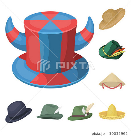 65e22d7c Vector illustration of hat and cap symbol. Set of hat and model stock  vector illustration